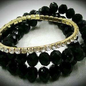3 Strand Black & Rhinestone Beaded Bracelet
